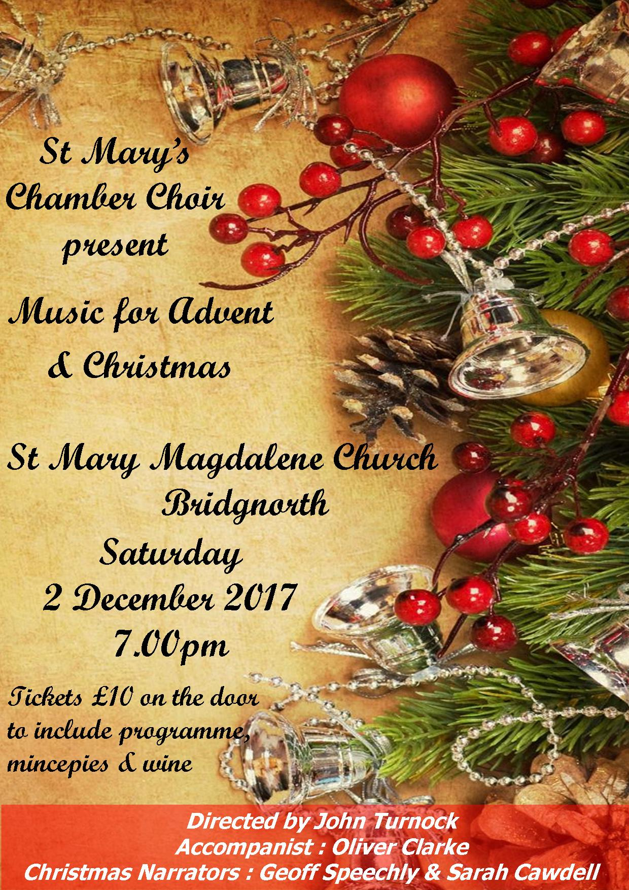 ST MARYS CHAMBER CHOIR CHRISTMAS CONCERT POSTER 2017